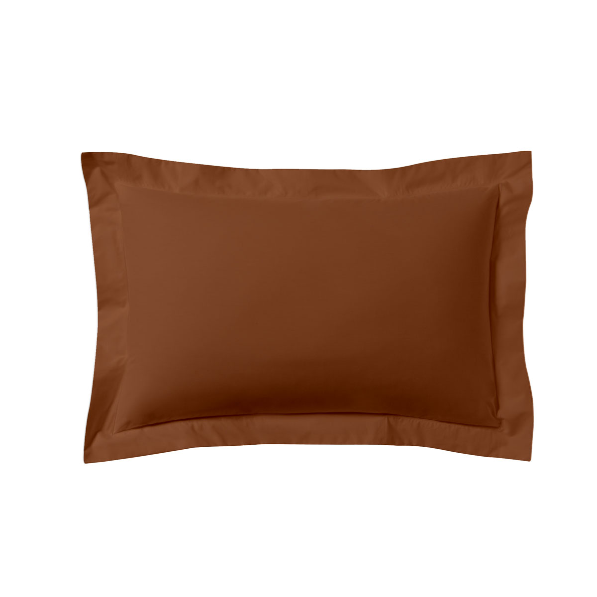 Taie d'oreiller unie en coton terracotta 50x70