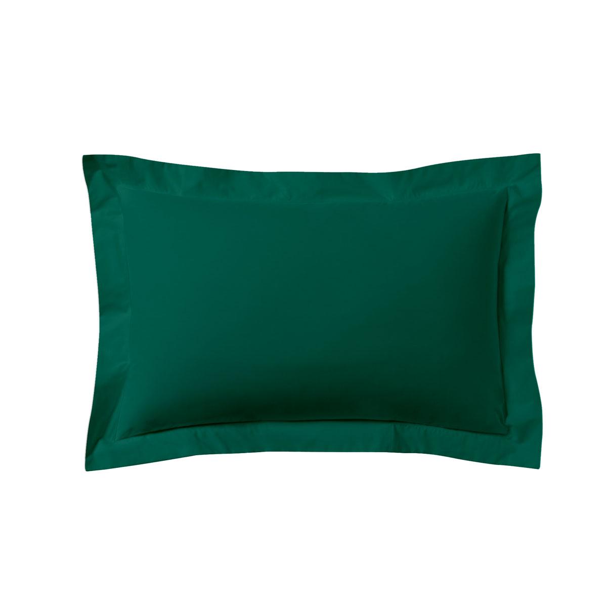 Taie d'oreiller unie en coton vert opale 50x70