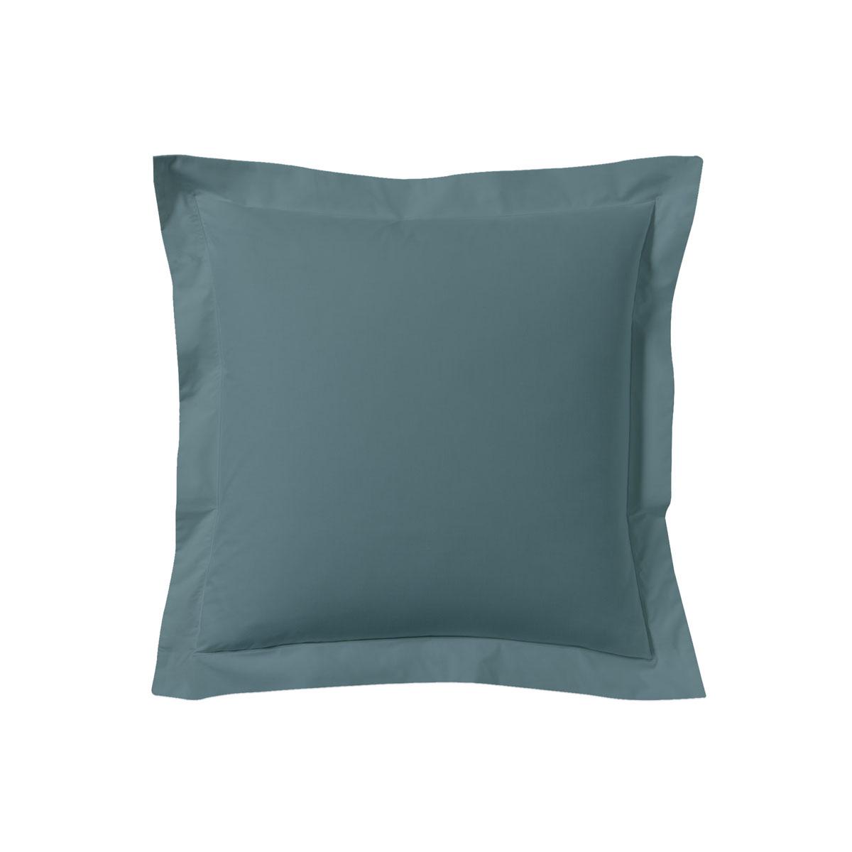 Taie d'oreiller unie en coton, Made in France bleu 63x63