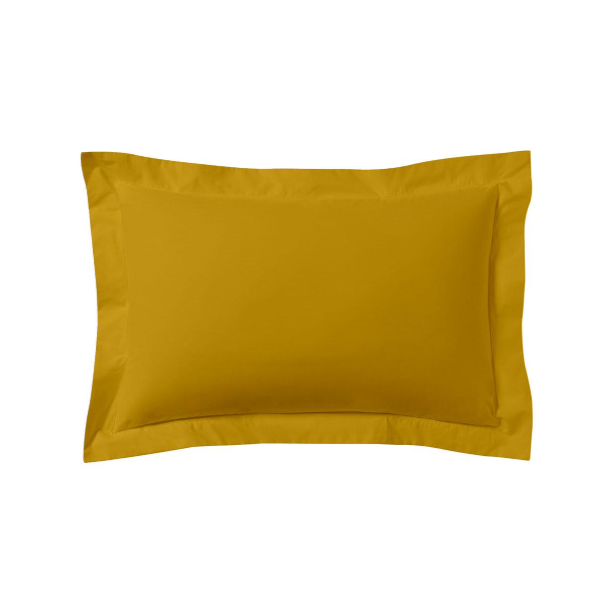 Taie d'oreiller unie en coton jaune curry 50x70