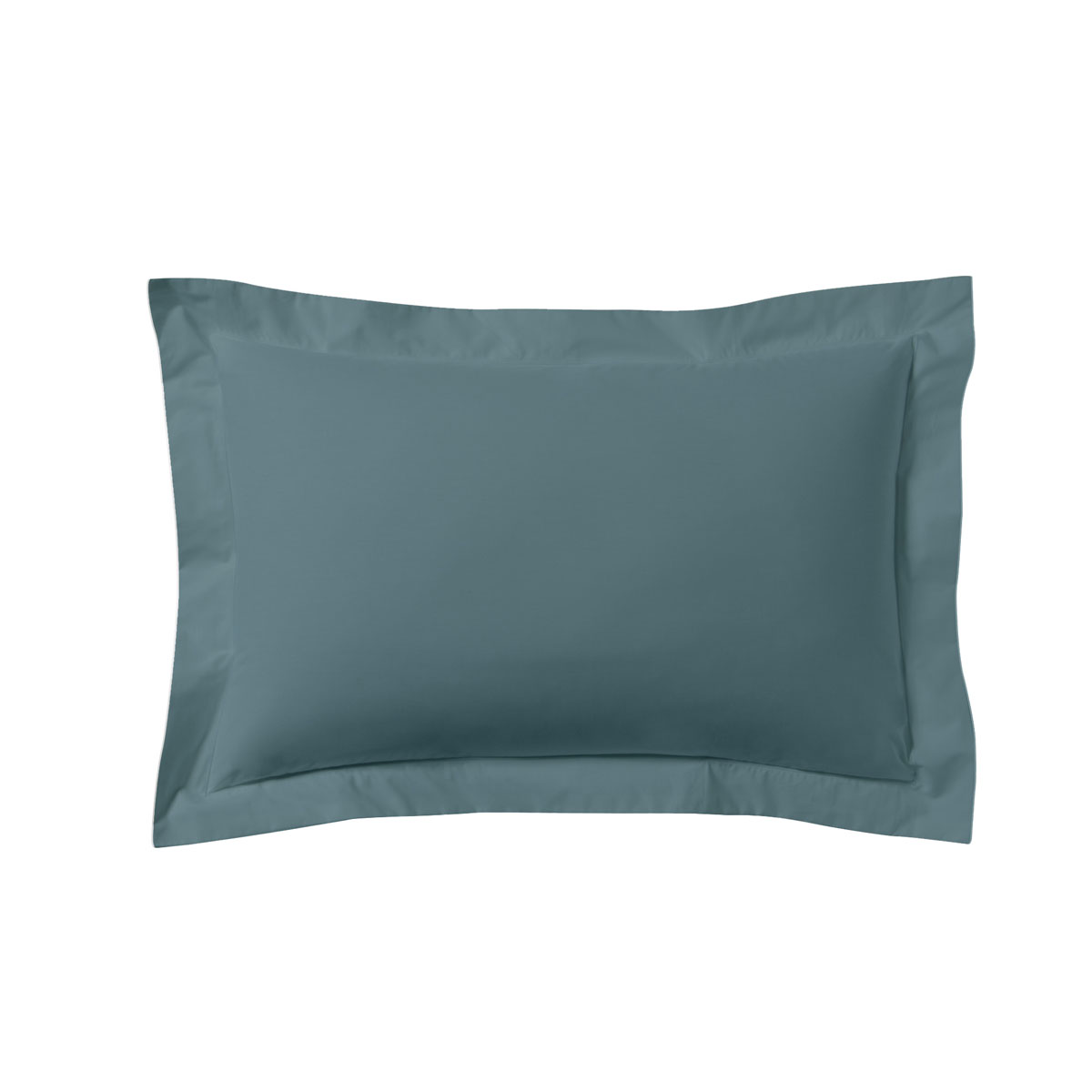 Taie d'oreiller unie en coton, Made in France bleu 50x70