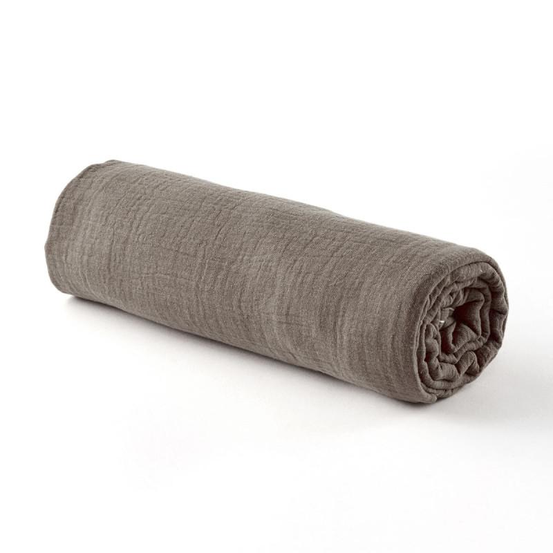 Drap housse gaze de coton taupe - 2 tailles (60 x 120 cm)