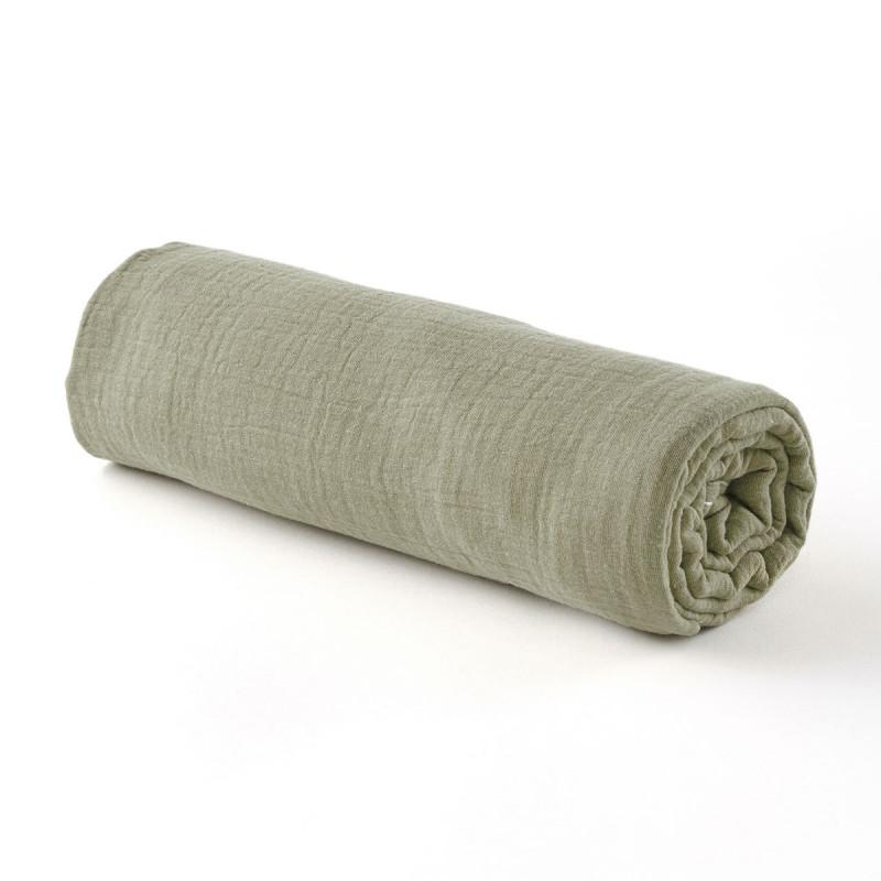 Drap housse gaze de coton vert sauge - 2 tailles (60 x 120 cm)