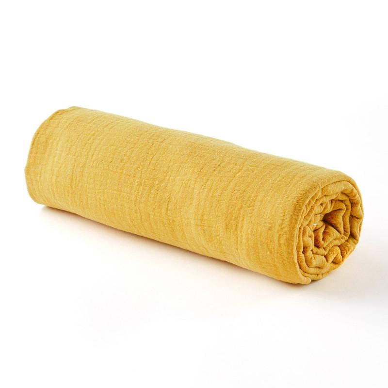 Drap housse gaze de coton moutarde - 2 tailles (70 x 140 cm)