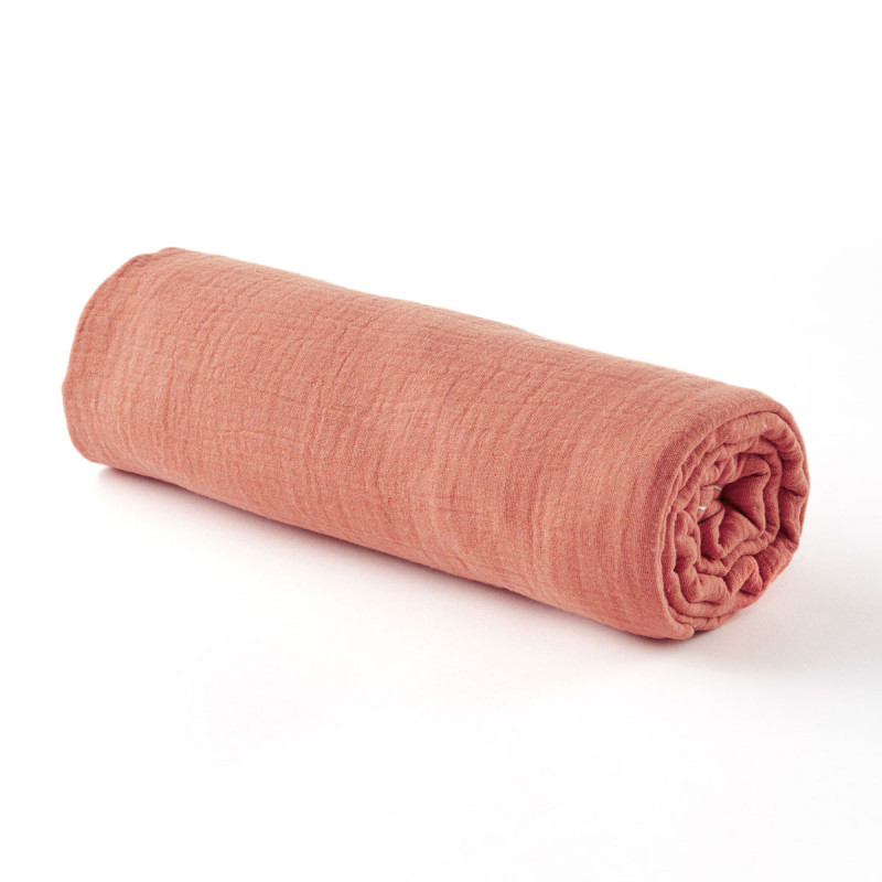 Drap housse en gaze de coton marsala - 2 tailles (70 x 140 cm)
