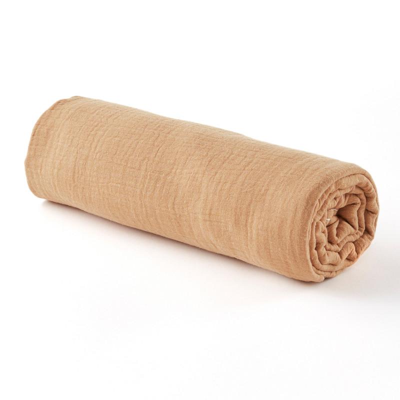 Drap housse gaze de coton camel - 3 tailles (90 x 190 cm)