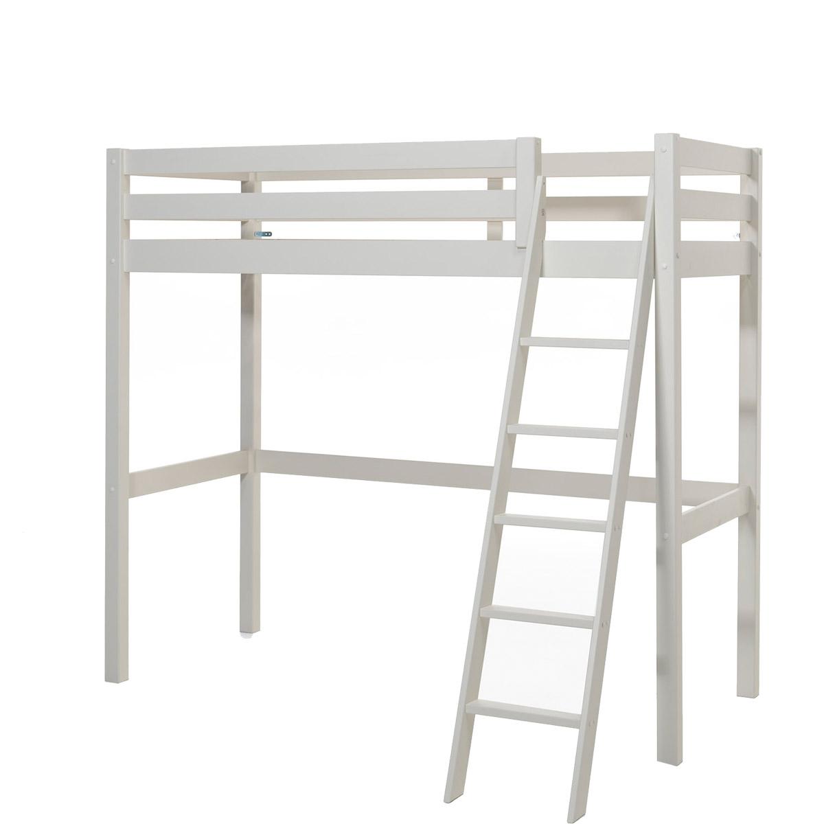 Lit mezzanine 90x200 lit junior 90x200 2 sommiers inclus blanc
