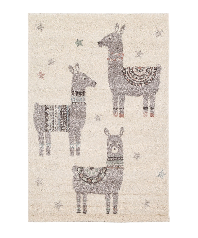 Tapis enfant petits lamas multicolore 80x150