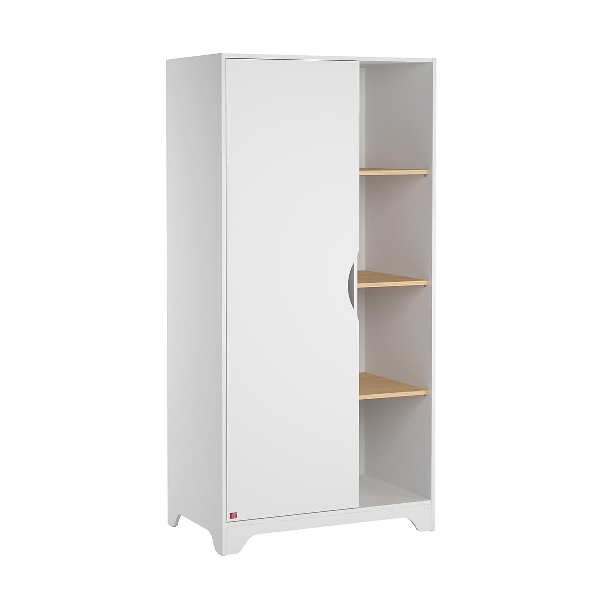 Armoire 1 porte blanc bois