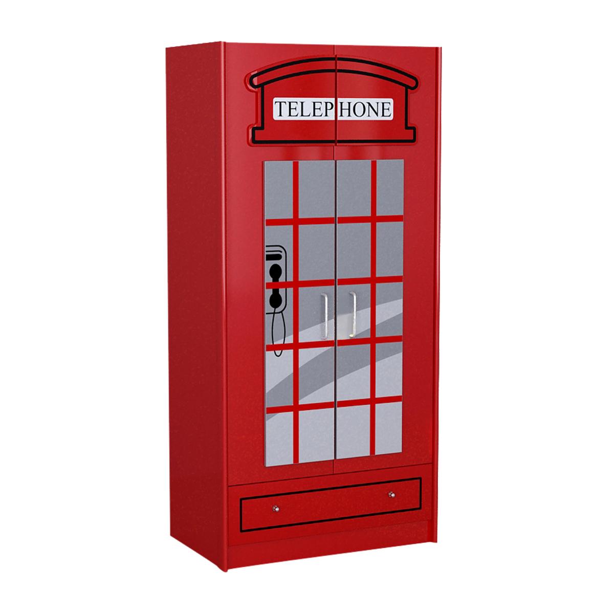 Armoire 2 portes london rouge