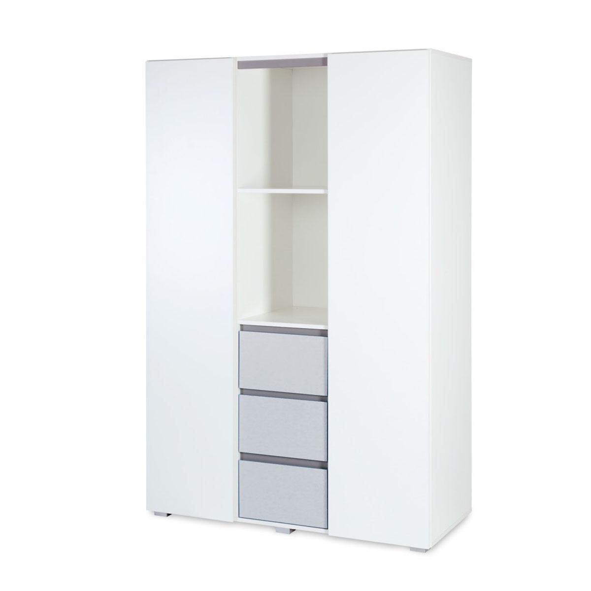 Armoire 3 portes blanc et gris