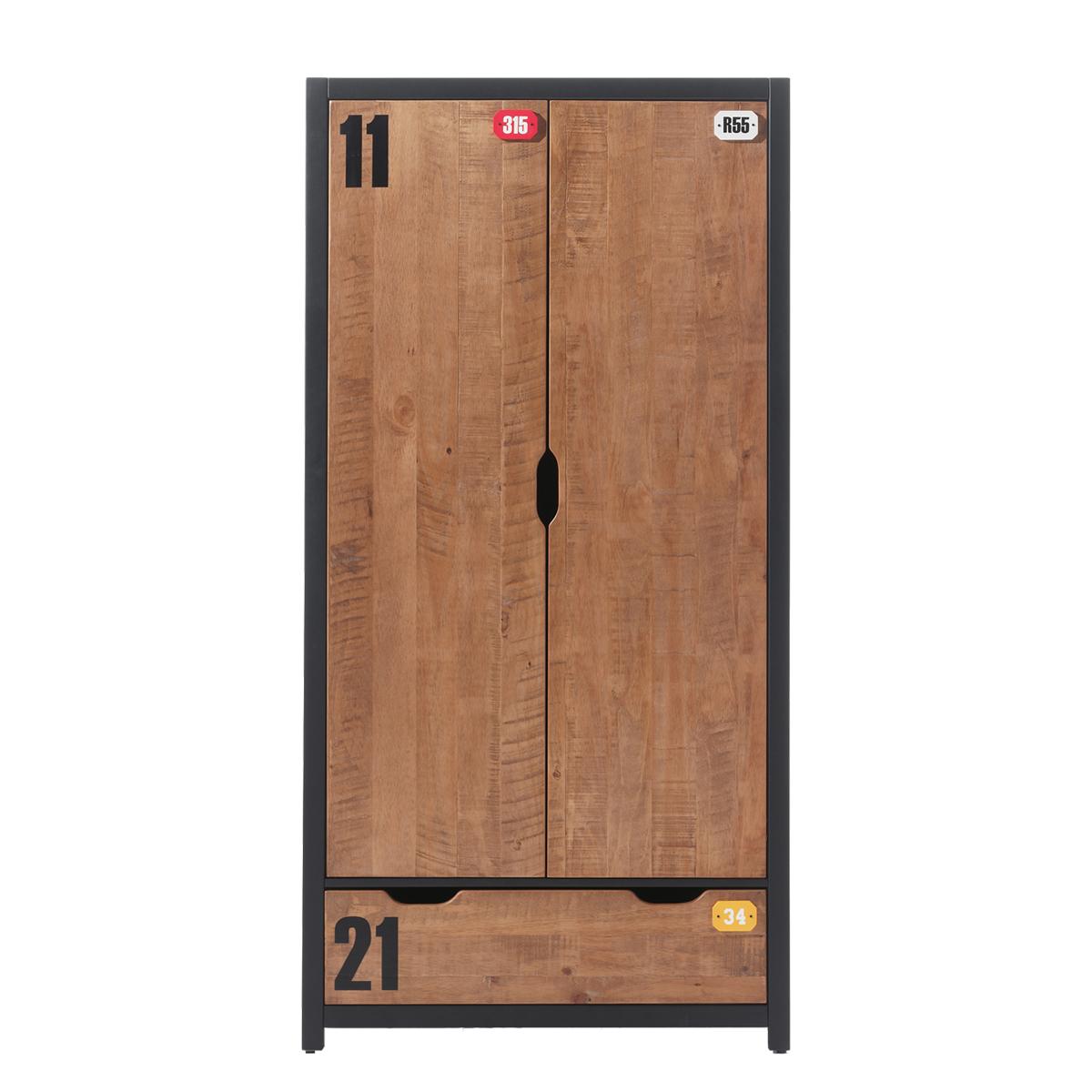Armoire 2 portes noir bois