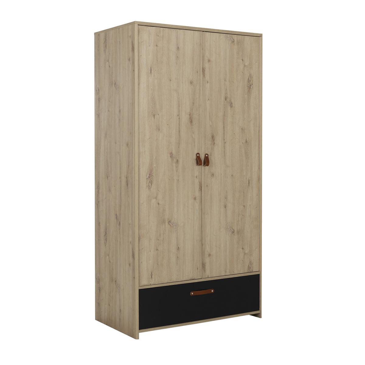 Armoire 2 portes 1 tiroir chêne noir