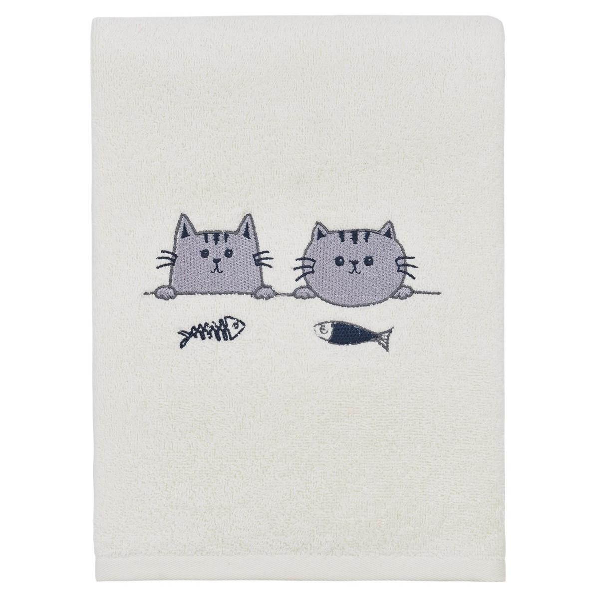 Drap de bain mini cats Ecru