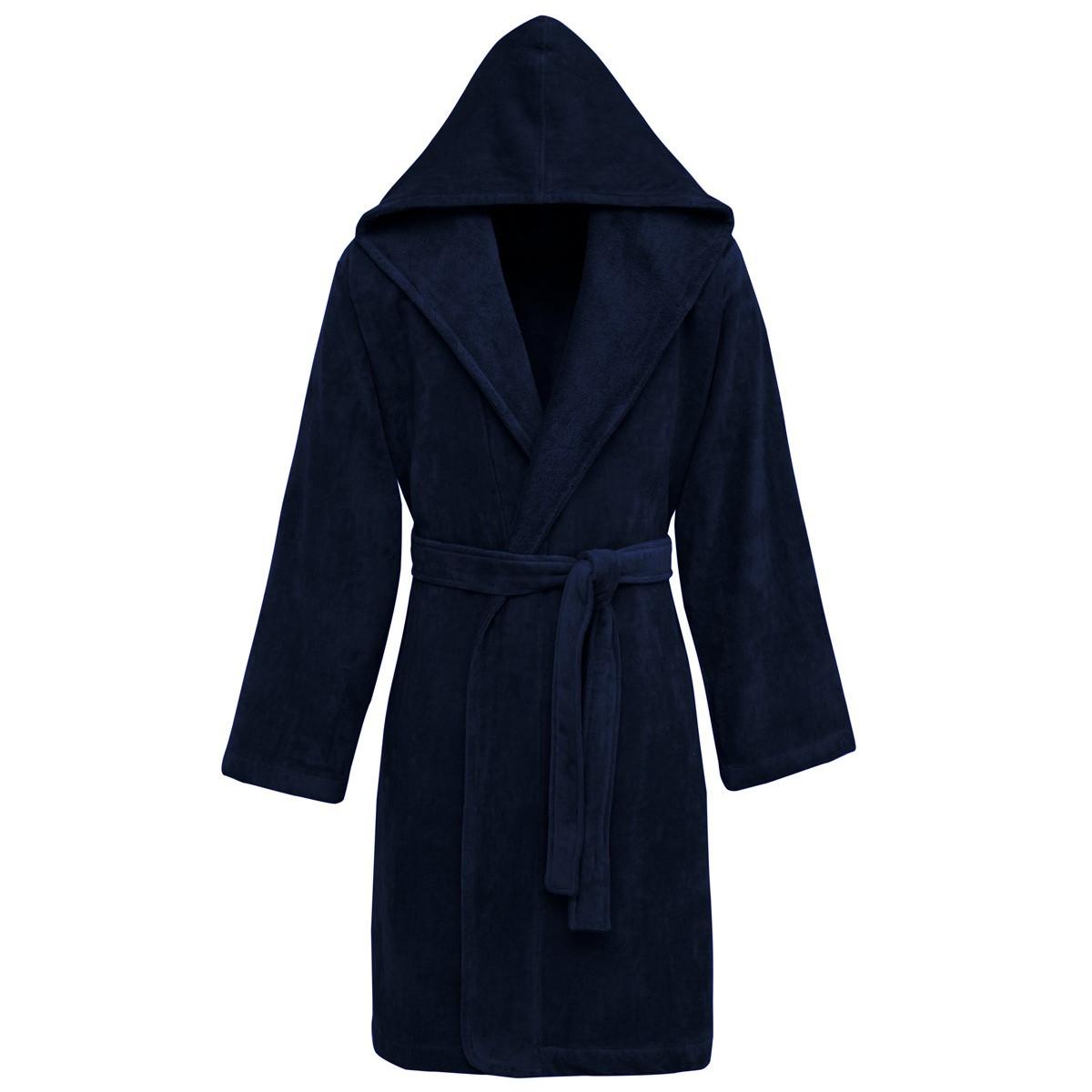 Peignoir à capuche velours  Bleu Nuit XL
