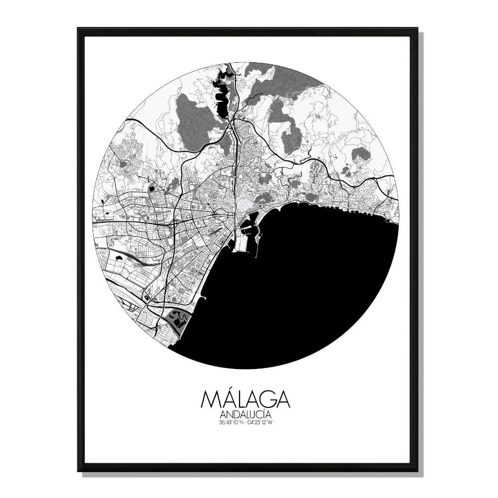 MALAGA - Carte City Map Rond 40x50cm