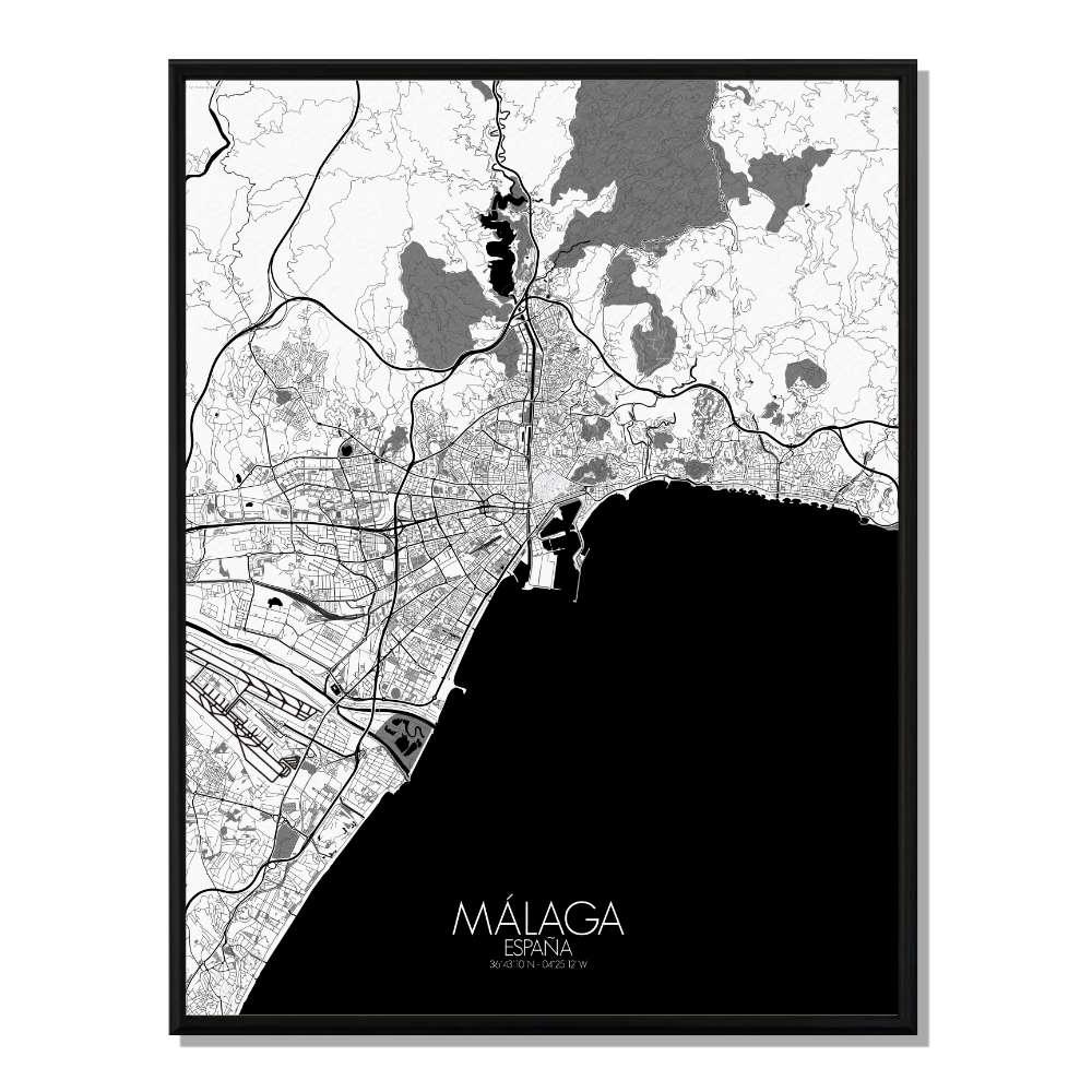 MALAGA - Carte City Map N&B 40x50cm