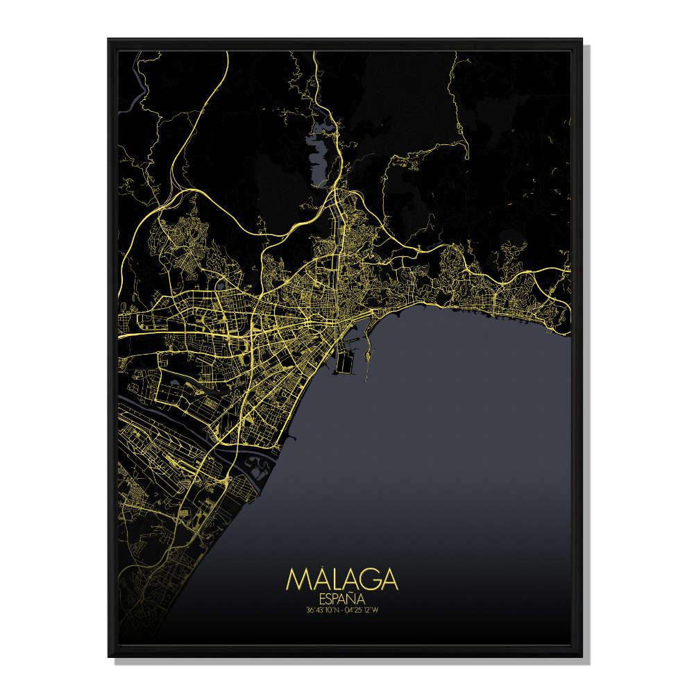 MALAGA - Carte City Map Nuit 40x50cm