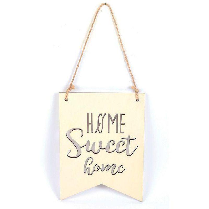 Suspension fanion en bois home sweet home 20 x 15 cm