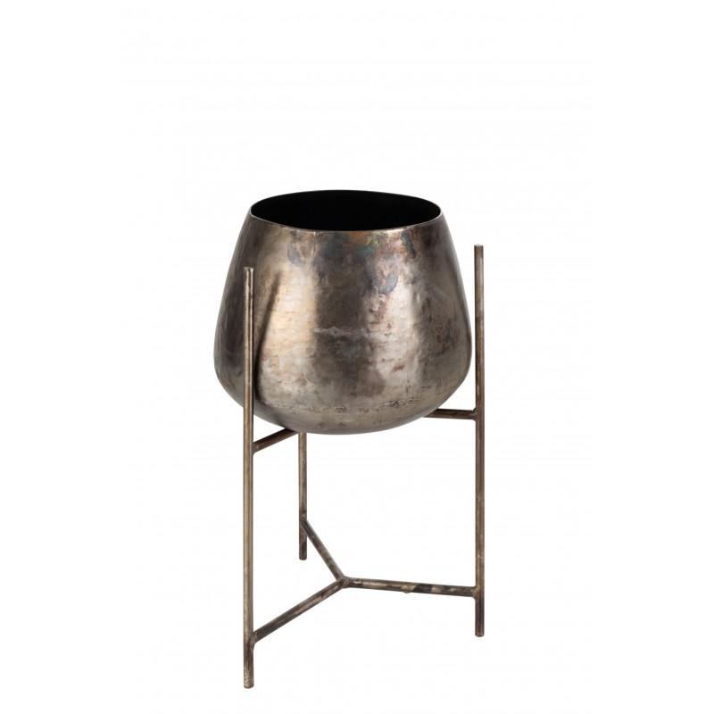 Support cache-pot + pied métal nickel H50,5cm