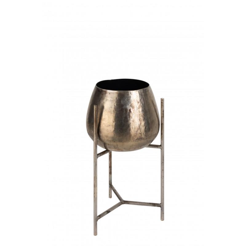Support cache-pot + pied métal nickel H45,5cm