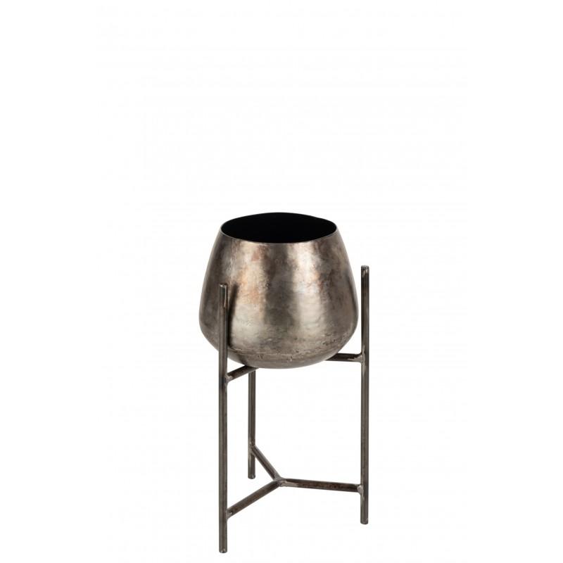 Support cache-pot + pied métal nickel H40,5cm