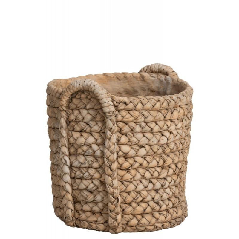 Cache-pot anses céramique naturel H38,5cm