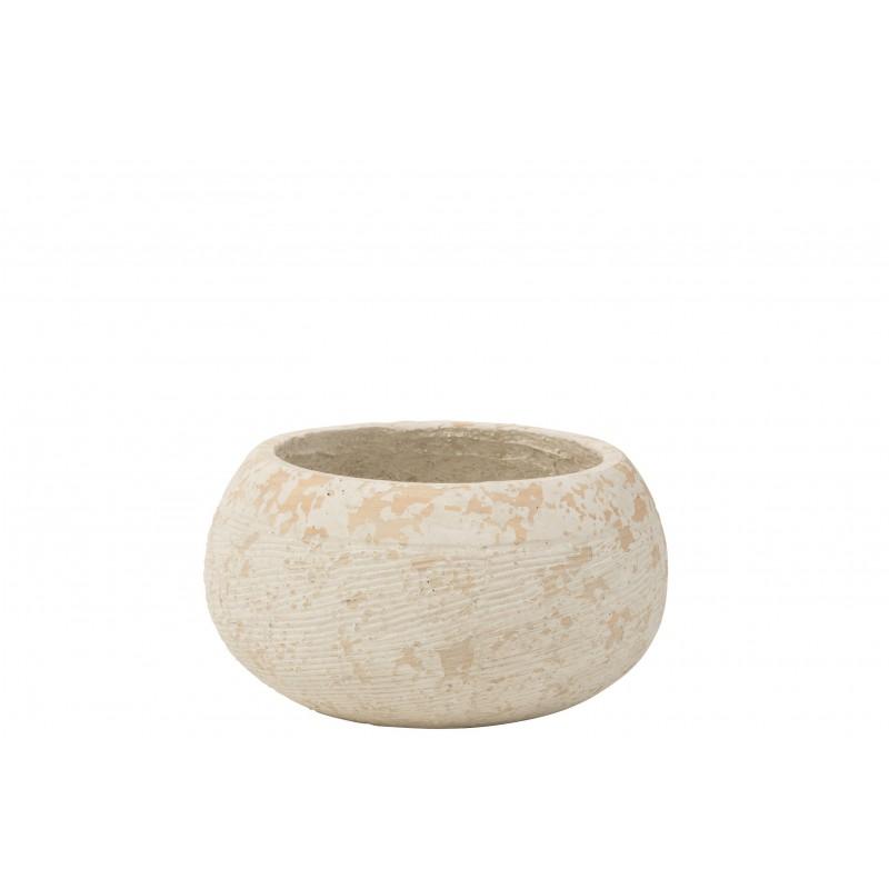 Cache-pot argile blanc H19cm