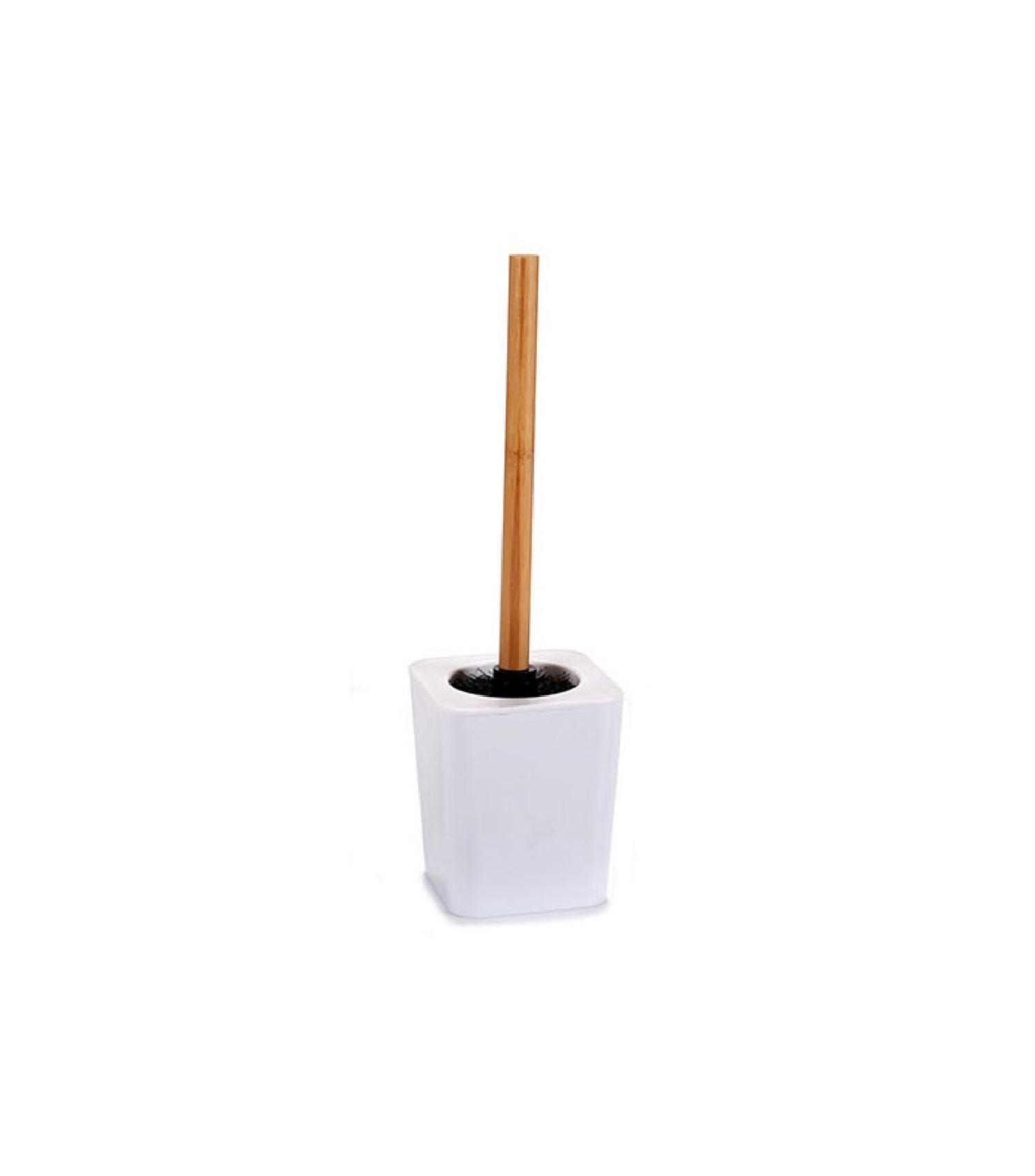 Balai brosse WC plastique blanc et bambou