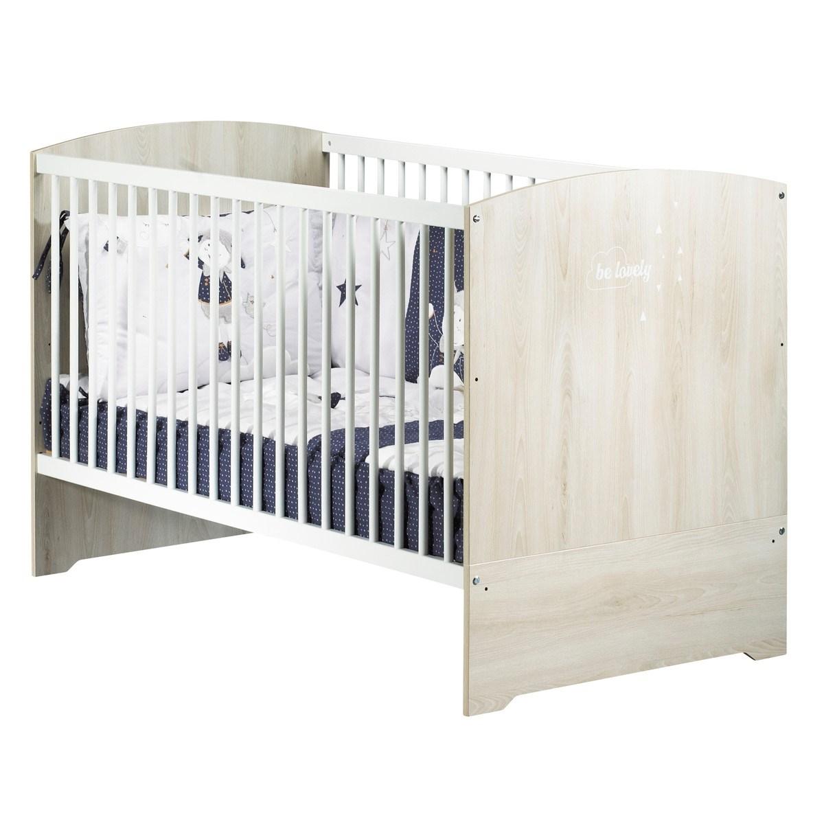 Lit 140x70 hêtre cendré en bois blanc