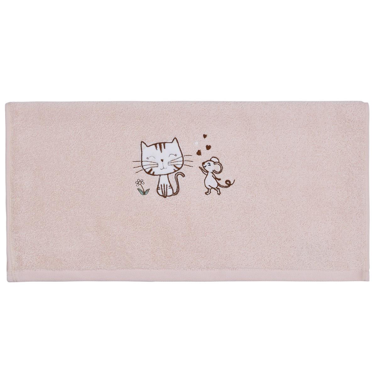 Serviette de bain le chat & la sour Rose Poudre