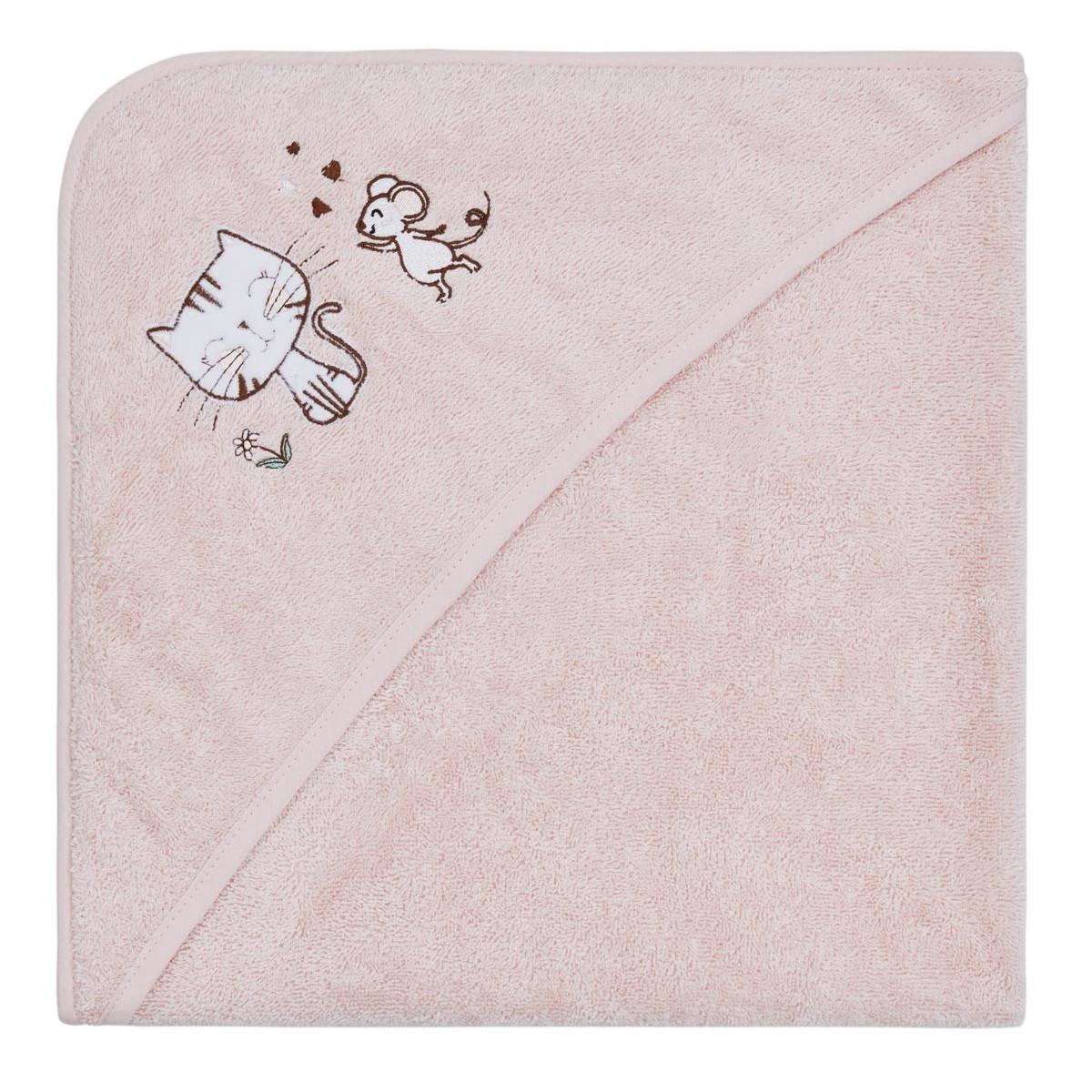 Cape de bain bébé le chat & la sour Rose Poudre
