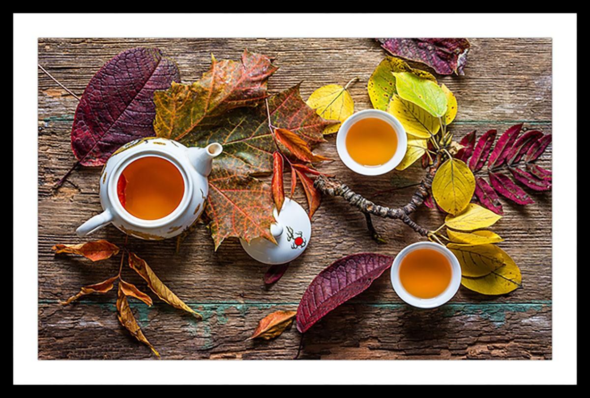 Affiche cuisine feuille de thé Affiche sous cadre noir