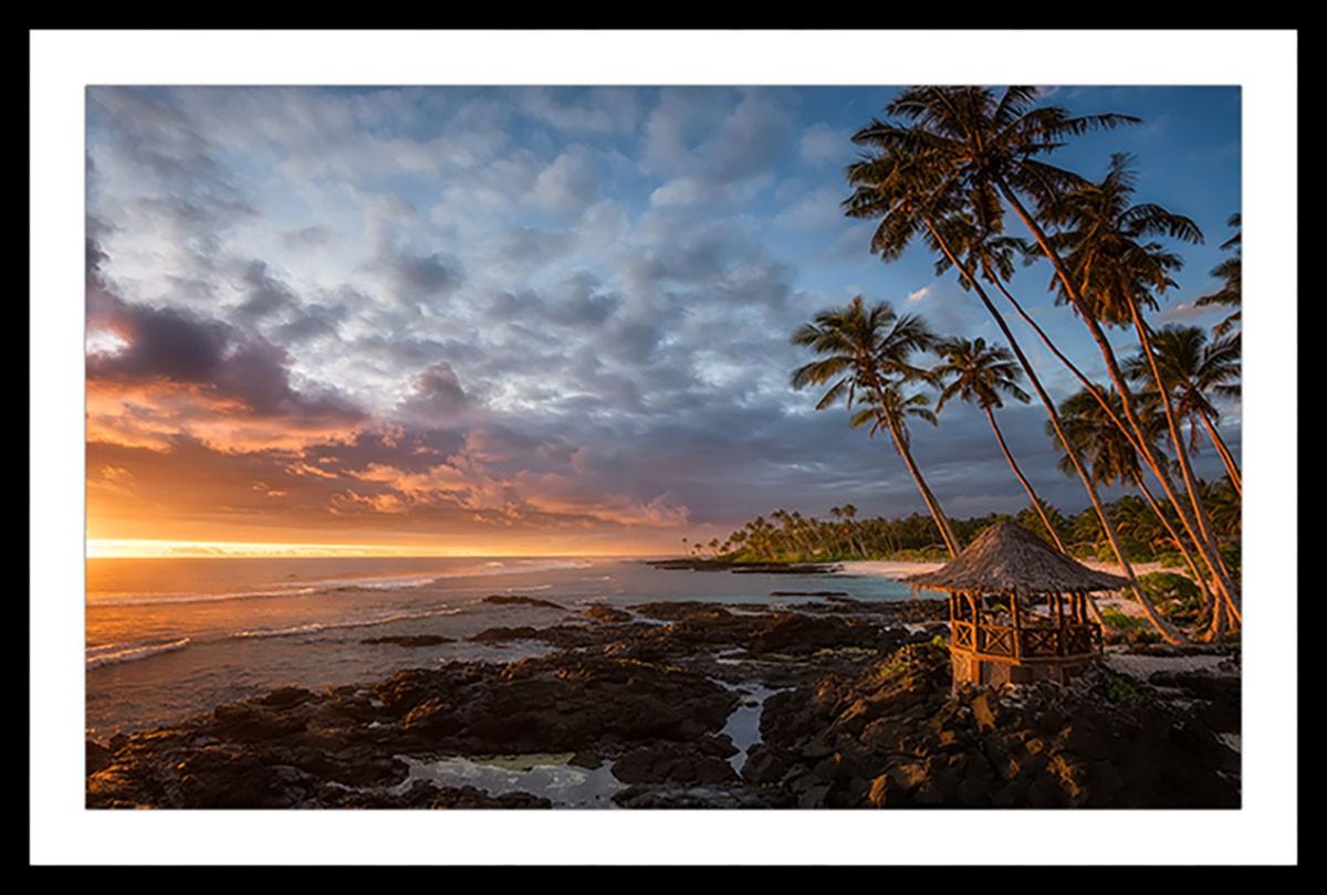 Affiche paysage paradis beach Affiche sous cadre noir