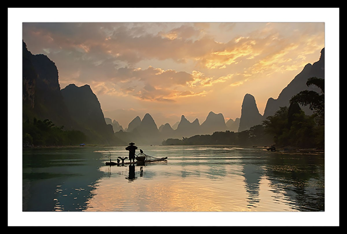 Affiche paysage baie d' halong Affiche sous cadre noir