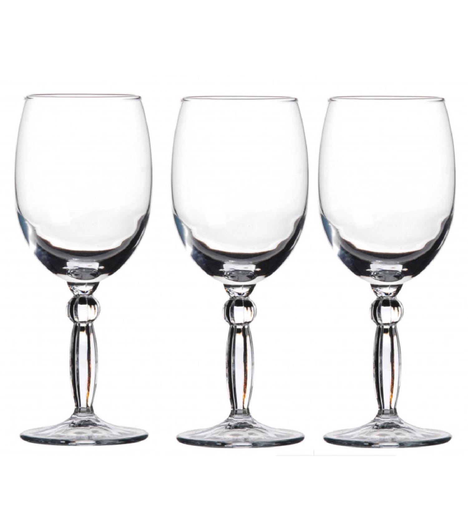 Verres à vin sur pieds en verre transparent 21cl - Lot de 3