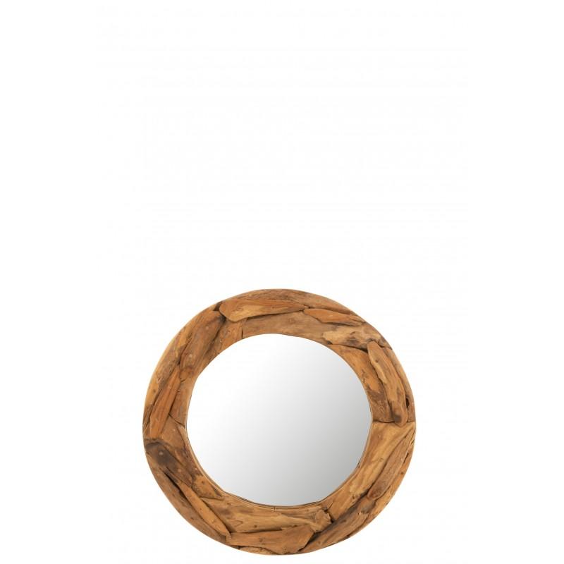 Miroir rond morceaux bois teck naturel D60cm