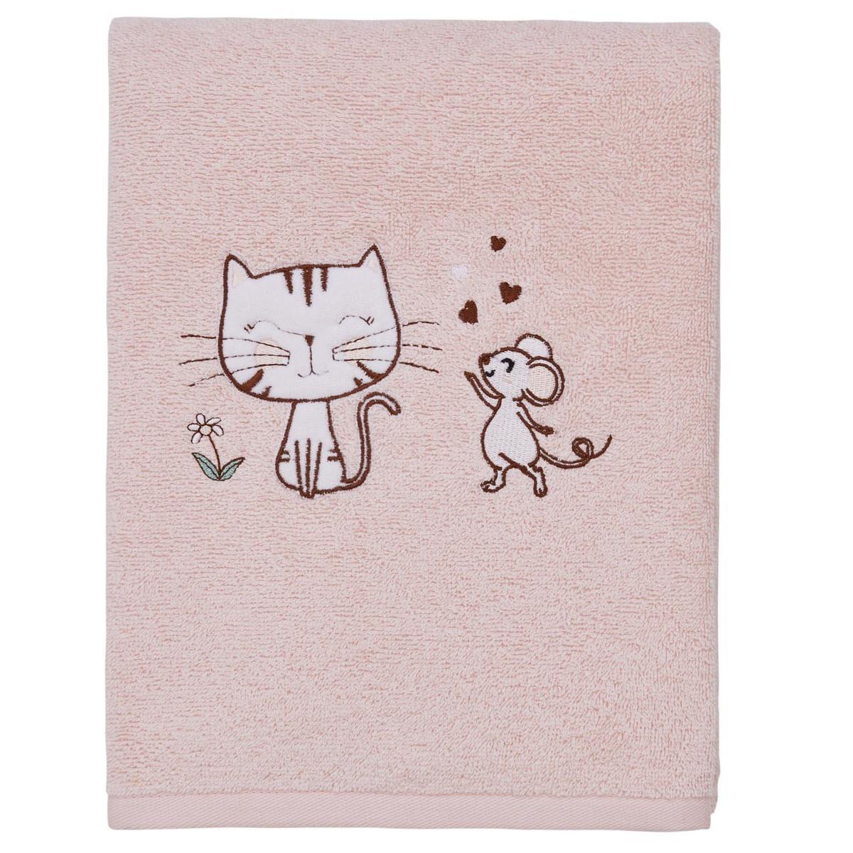 Drap de bain le chat & et la souris Rose Poudre