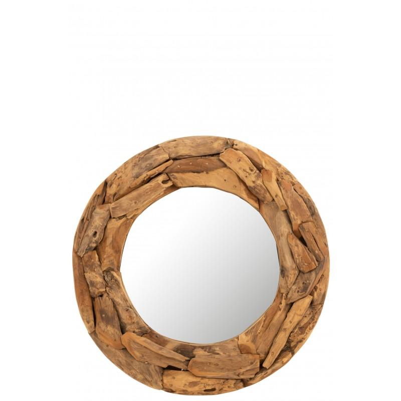 Miroir rond morceaux bois teck naturel D80cm