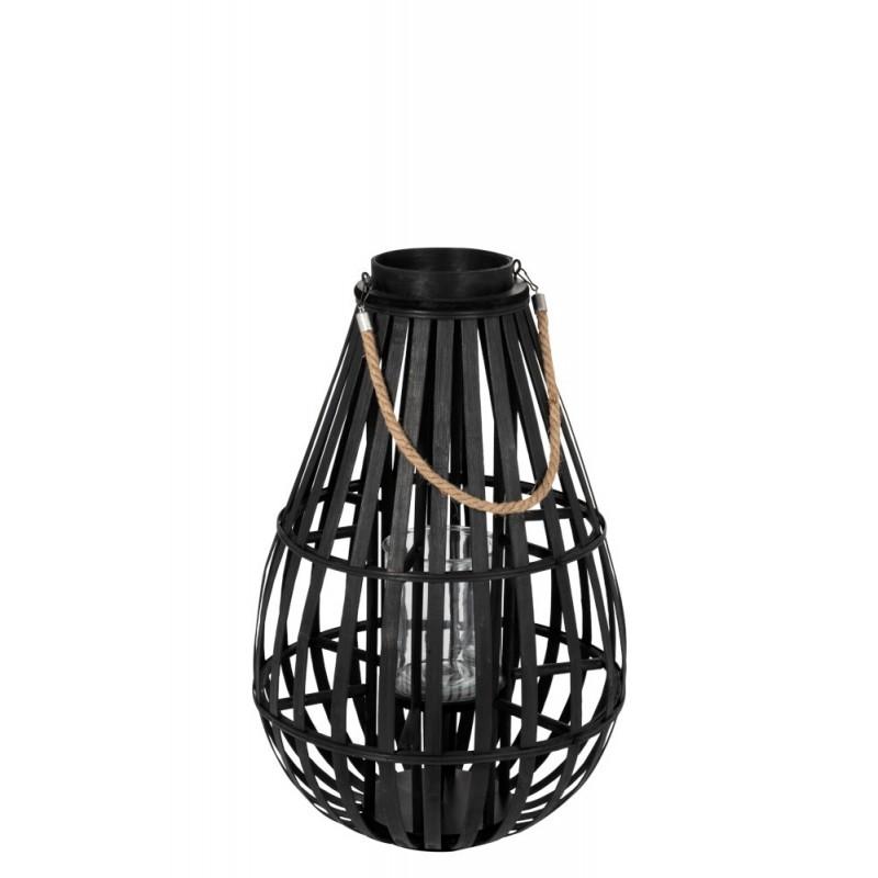 Lanterne en forme de goutte bambou noir H60cm