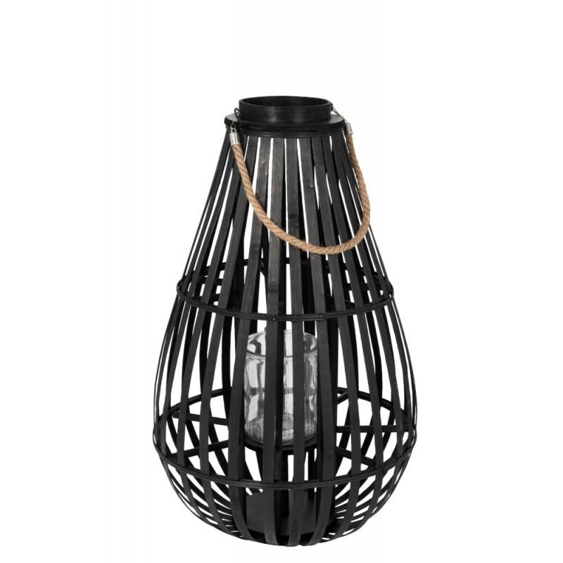Lanterne en forme de goutte bambou noir H70cm