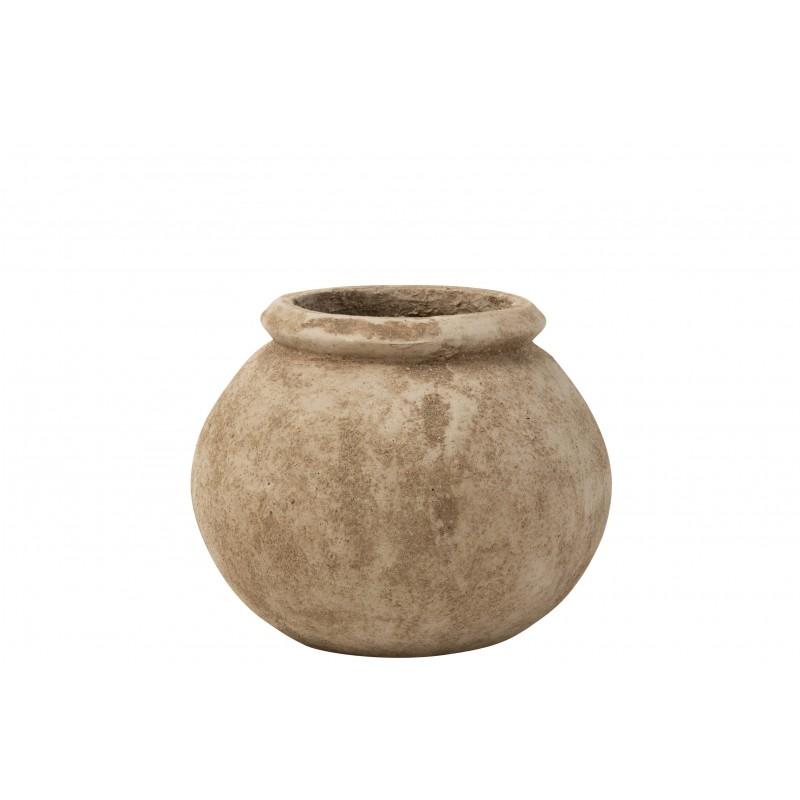 Cache-pot ciment beige H36cm