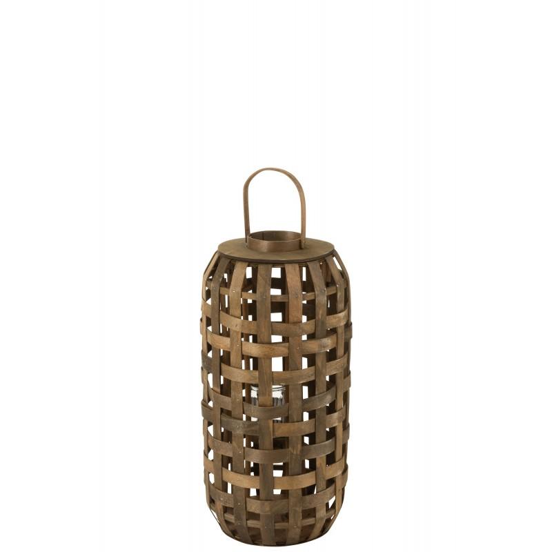 Lanterne cylindrique bois marron foncé H68cm
