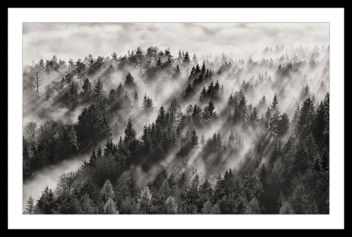 Affiche paysage rayons de lumière Affiche sous cadre noir