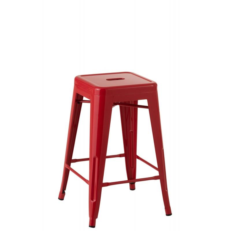 Tabouret métal rouge H61cm