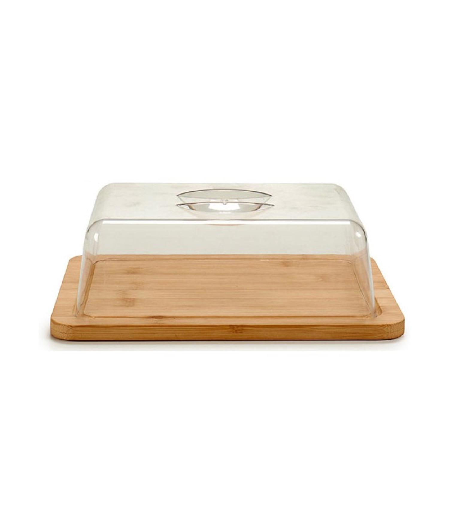 Plateau fromage bambou rectangulaire et cloche acrylique