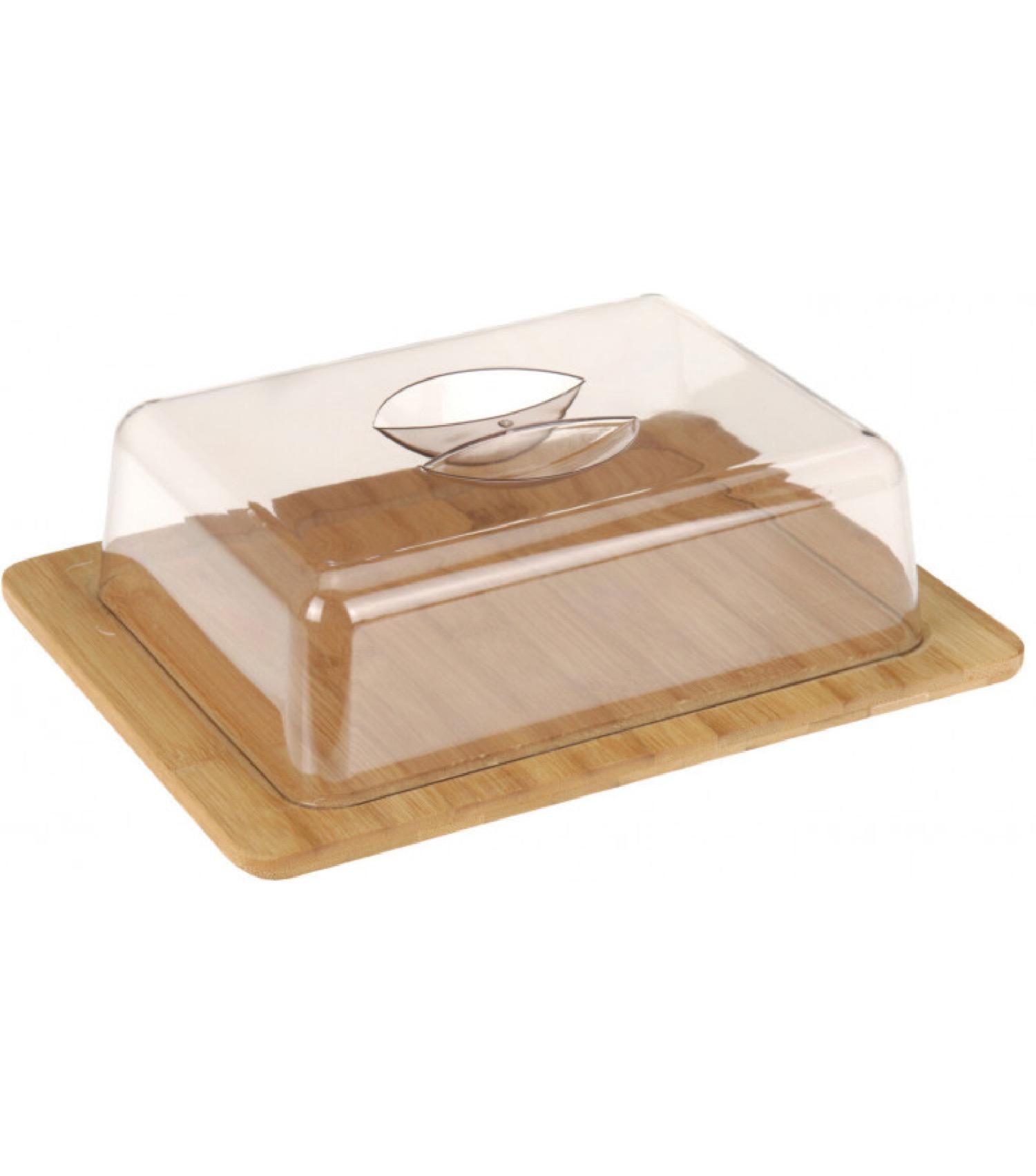Petit plateau fromage bambou rectangulaire et cloche acrylique