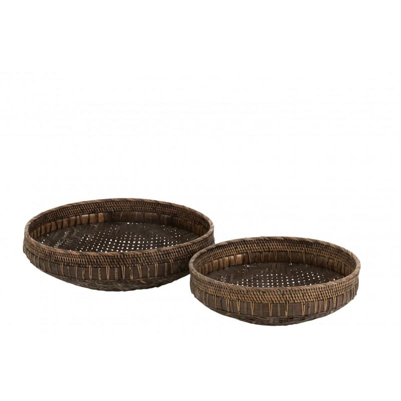 Plats ronds rotin noir D49,5cm - Lot de 2