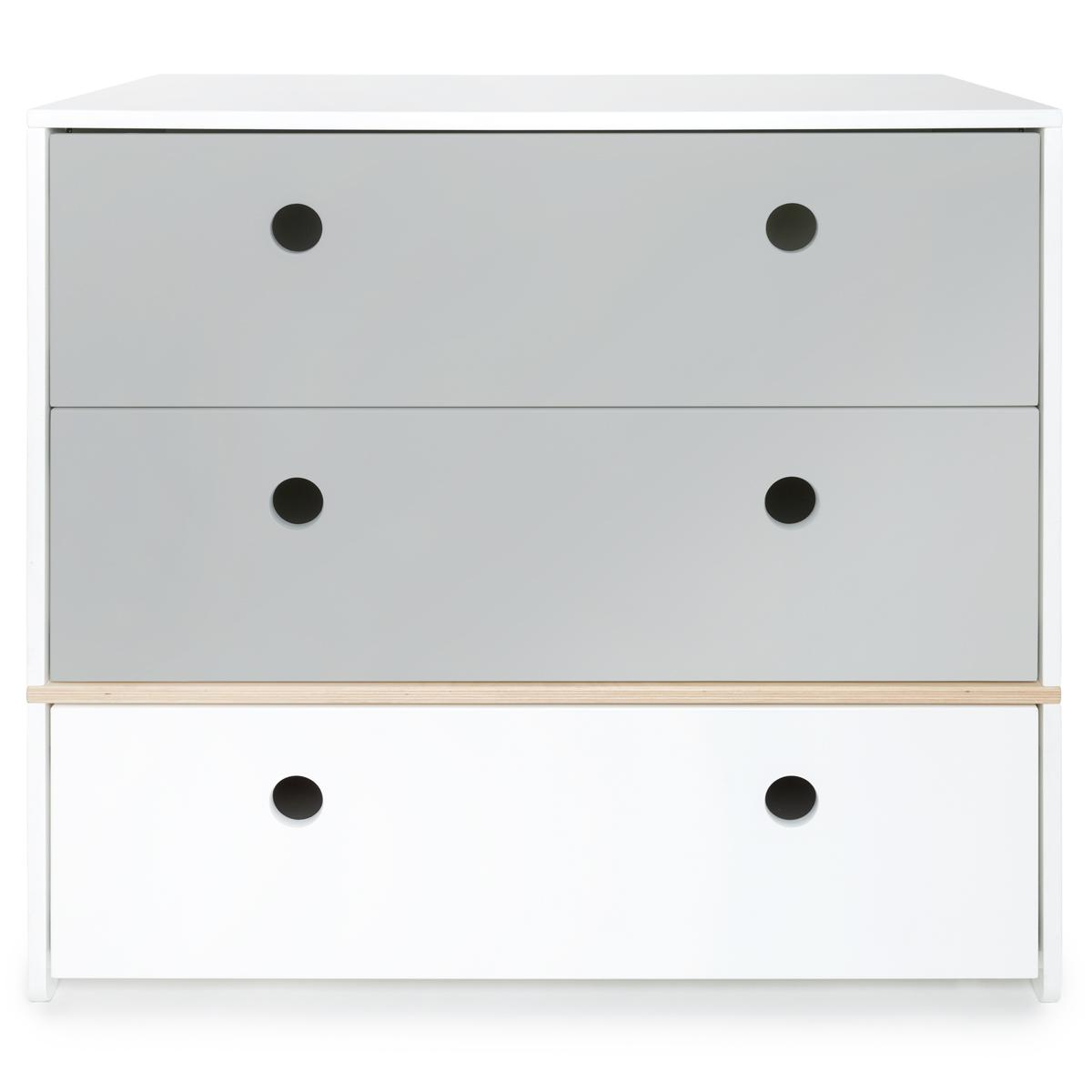 Commode gris perle-gris perle-blanc