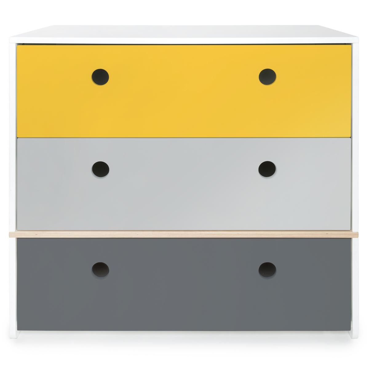 Commode jaune-gris perle-gris espace